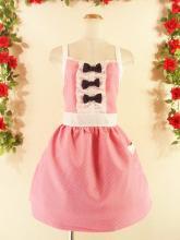 フリルエプロン胸リボン&フリルピンドット チェリーピンク