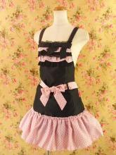 フリルエプロン胸4段フリル付き前絞りリボン 黒ピンク