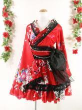 フリルワンピース浴衣風和柄振袖フリル帯リボン付き 赤M