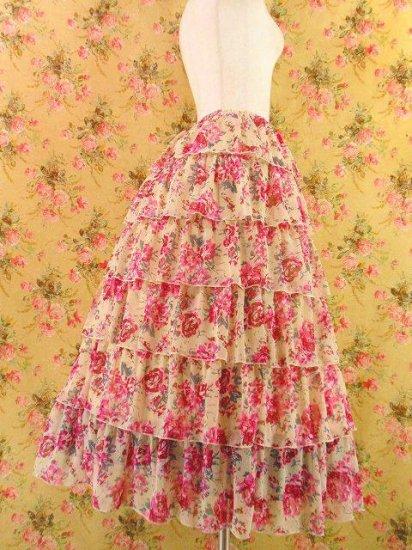 フリルロングフレアスカート6段ティアードフリルcatchlady 白バラ柄フリーサイズ