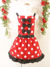 フリルエプロン胸リボン裾フリルポルカドットsugardollmilk 赤フリーサイズ