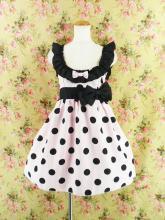 フリルエプロンワンピース風ダブルリボンsugardollmilk ピンク黒フリーサイズ