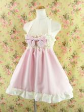 フリルエプロンシャーリングワンピース風sugardollmilk ピンク&白フリーサイズ