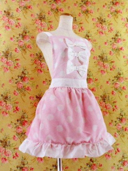 フリルエプロン胸リボン裾フリルポルカドット ピンク白フリーサイズ