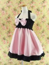 フリルエプロンシャーリングワンピース風sugardollmilk ピンク&黒フリーサイズ