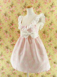 フリルエプロンワンピース風ダブルリボンsugardollmilk ピンク白フリーサイズ