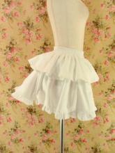 フリルスカート二段ティアード裾フリル仕上げ 白フリーサイズ