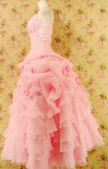 フリルプリンセスドレス7段ティアードフリルコサージュ付 ピンクフリーサイズ
