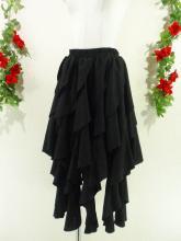フリルミディアムスカートゴシック風ドレープフリル 黒フリーサイズ