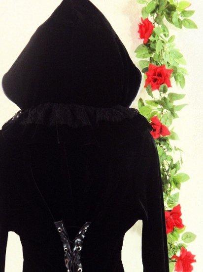 フリルローブ魔女風ベロアスピンドル使い 黒フリーサイズ