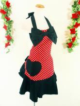 フリルエプロンハートポケット胸大リボン付きmintpoint赤ドット&黒フリーサイズ