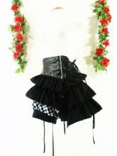 フリルショートパンツ変形3段フリルスカート付drughoney 黒チェックフリーサイズ