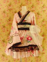 フリルワンピース浴衣風和柄振袖フリル帯リボン付きprimaboutique ピンクMサイズ