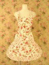 フリルエプロンレース薔薇柄 オフホワイトフリーサイズ