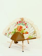 フリル扇子レースフリル貴族風ロココ調装飾レース使い薔薇柄 白
