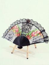 フリル扇子レースフリル貴族風ロココ調装飾レース使い薔薇柄 黒