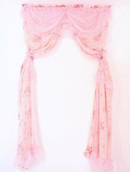 高級フリルカーテンプリンセスレースフリルジャガード織りロココ調薔薇柄ローズタッセル付き ピンク