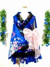 フリルワンピース浴衣風和柄振袖フリル帯リボン付き 青M