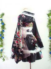 フリルワンピース浴衣風和柄振袖フリル帯リボン付き 黒M