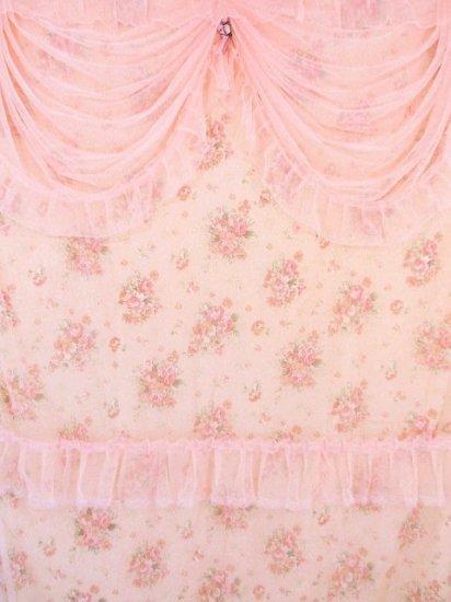 高級お姫様フリルタペカーテンレースフリルジャガード織りロココ調薔薇柄ローズ