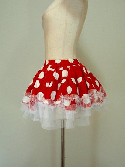 フリルスカート裾レースチュールデザイン水玉ドットプリント 赤白