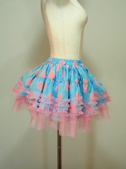 フリルスカート裾レースチュールデザイン水玉ドットプリント 青ピンク