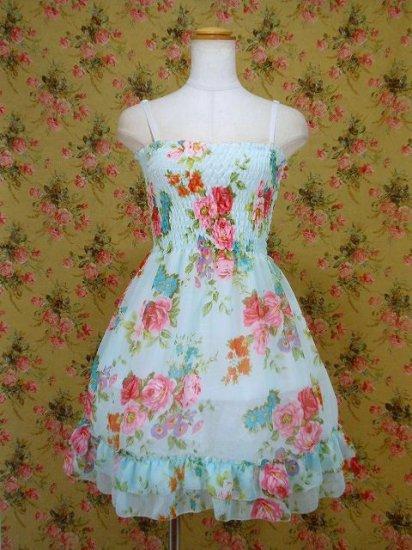 フリルシフォンワンピース薔薇柄シャーリング裾2段フリル 青