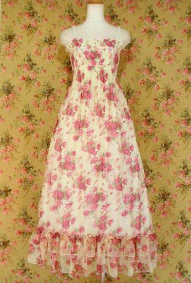 フリルマキシ丈ワンピース裾2段フリルシャーリング姫系薔薇柄 白
