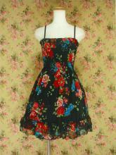 フリルシフォンワンピース薔薇柄シャーリング裾2段フリル 黒