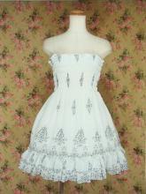 フリルシフォンワンピースシンプル小花柄シャーリング裾2段フリル 白
