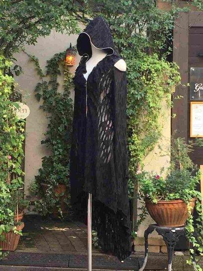 フリル魔女ローブメッシュ加工背面スピンドル 黒フリーサイズ