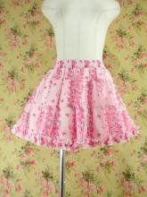 フリルスカート風キュロット薔薇&うさぎ柄 ピンクフリーサイズ