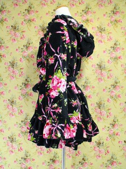 フリルバスローブ姫袖フリル薔薇柄 黒