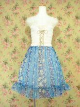 フリルシフォンワンピース編み上げシャーリング使い 青Mサイズ
