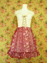 フリルシフォンワンピース編み上げシャーリング使い 紫Mサイズ