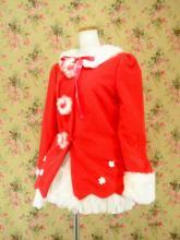 フリルコート裾レースフリル使いお花ボタン付き 赤Mサイズ