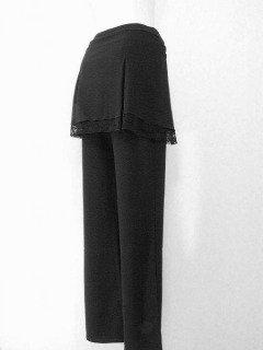フリルレース星飾りミニスカート付きストレートパンツセット黒Holee M-Lサイズ(ストレッチ素材)
