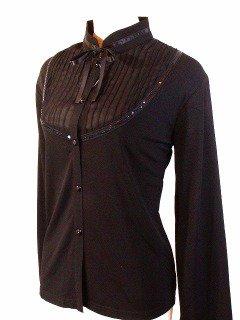 フリル服と似合うリボン胸シフォンブラウスleomarina 黒M-Lサイズ