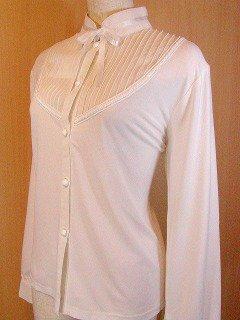 フリル服と似合うリボン胸シフォンブラウスleomarina 白M-Lサイズ
