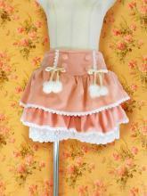 フリルスカート風キュロットふわふわ飾り付き ピンク