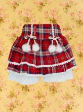 フリルスカート風キュロットふわふわ飾り付き 赤チェック