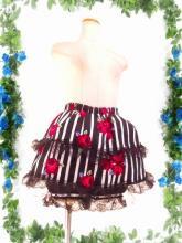 フリルドロワーズ付ミニスカート裾レース使い バラ柄