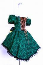 フリルドレス:薔薇生地のコルセット付袖スカートコサージュの4点セット 緑