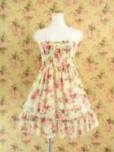 フリルシフォンワンピース薔薇柄シャーリング裾2段フリル イエロー