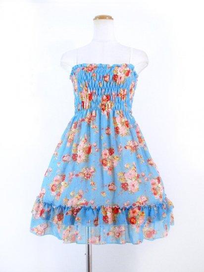 フリルシフォンワンピース薔薇柄シャーリング裾2段フリル 水色