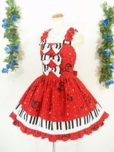 フリルワンピース鍵盤柄3連リボン付き背面シャーリング 赤
