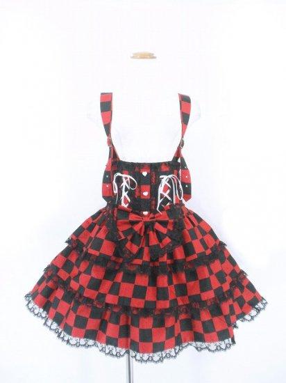 フリルスカート:ハートボタンと編上げリボンのハイウエストスカート 赤