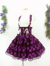 フリルスカート:ハートボタンと編上げリボンのハイウエストスカート 紫