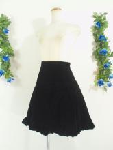 フリルスカート:リボン付きベロアフリルスカート 黒