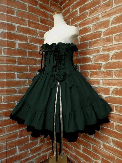 フリルコルセットスカート薔薇リボンコサージュ付き 緑